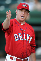 Manager Darren Fenster (3) of the Greenville Drive in a game against the Lexington Legends on Friday, August 29, 2014, at Fluor Field at the West End in Greenville, South Carolina. Greenville won, 6-1. (Tom Priddy/Four Seam Images)