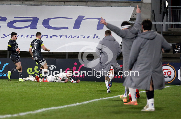 2nd January 2021   Ulster vs Munster <br /> <br /> Ethan McIlroy scores Ulster's second try during the PRO14 Round 10 clash between Ulster Rugby and Munster Rugby at the Kingspan Stadium, Ravenhill Park, Belfast, Northern Ireland. Photo by John Dickson/Dicksondigital