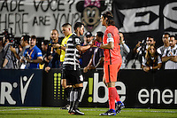 Orlando, FL - Saturday Jan. 21, 2017: Corinthians midfielder Giovanni Cardoso (17) celebrates his successful penalty shot with Corinthians goalkeeper Cassio Ramos (12) during the penalty kick shootout of the Florida Cup Championship match between São Paulo and Corinthians at Bright House Networks Stadium. The game ended 0-0 in regulation with São Paulo defeating Corinthians 4-3 on penalty kicks.