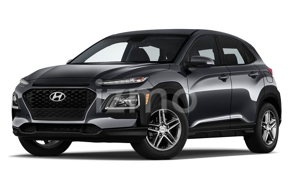 Stock pictures of low aggressive front three quarter view of 2020 Hyundai Kona SE 5 Door SUV Low Aggressive