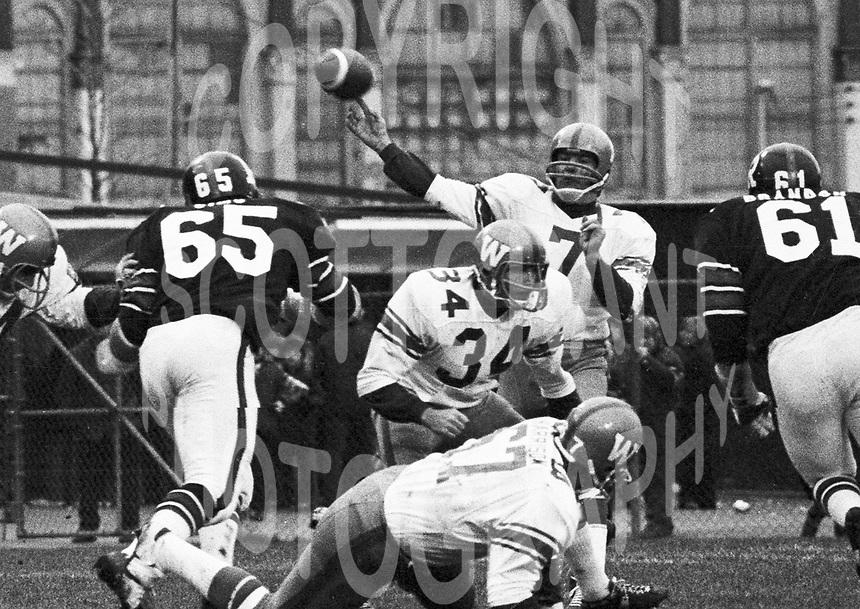 Don Jonas Winnipeg Blue Bombers quarterback 1972 in a game against the Ottawa Rough Riders. Copyright photograph Scott Grant/