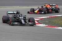 11th October 2020, Nuerburgring, Nuerburg, Germany; FIA Formula 1 Eifel Grand Prix, Race Day;  44 Lewis Hamilton GBR, Mercedes-AMG Petronas Formula One Team ahead of Max Varstappen Red Bull