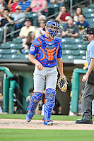 Anthony Recker (40) of the Las Vegas 51s during the game against the Salt Lake Bees in Pacific Coast League action at Smith's Ballpark on June 25, 2015 in Salt Lake City, Utah. Las Vegas defeated Salt Lake 20-8.  (Stephen Smith/Four Seam Images)
