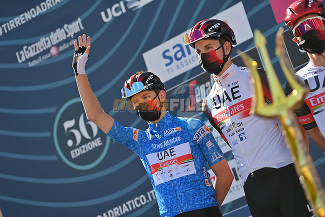 Race leader Maglia Azzurra Tadej Pogacar (SLO) UAE Team Emirates at sign on before the start of Stage 6 of Tirreno-Adriatico Eolo 2021, running 169km from Castelraimondo to Lido di Fermo, Italy. 15th March 2021. <br /> Photo: LaPresse/Gian Mattia D'Alberto | Cyclefile<br /> <br /> All photos usage must carry mandatory copyright credit (© Cyclefile | LaPresse/Gian Mattia D'Alberto)