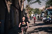 John Degenkolb (DEU/Trek-Segafredo) rolling past the team busses on his way to his first race of the new season<br /> <br /> 27th Challenge Ciclista Mallorca 2018<br /> Trofeo Campos-Porreres-Felanitx-Ses Salines: 176km
