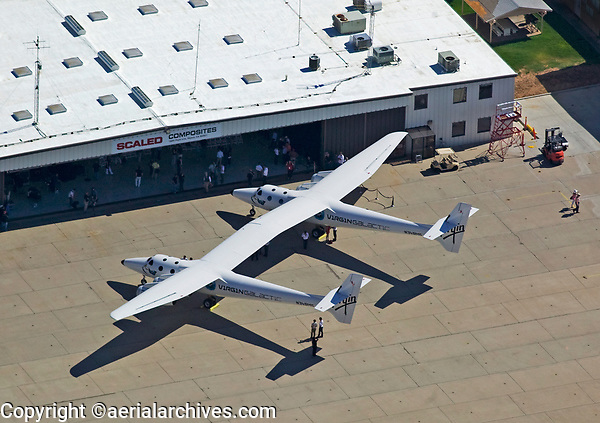 aerial photograph of Virgin Galactic White Knight Two at the Mojave Air and Spaceport (MHV), Mojave, Kern County,  California