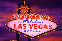 The Welcome to Las Vegas sign at night, Las Vegas, Nevada