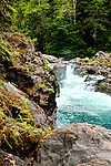 Salmon Falls on the Sol Duc River, known for its pristine rainforest canyon and hot springs, drians the north end of Olympic National Park, Washington State. Olympic Peninsula