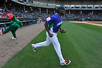 First baseman Josh Ockimey (18) of the Greenville Drive is introduced before a game against the Asheville Tourists on Sunday, April 10, 2016, at Fluor Field at the West End in Greenville, South Carolina. Greenville won 7-4. (Tom Priddy/Four Seam Images)