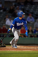 Rancho Cucamonga Quakes shortstop Gavin Lux (14) follows through on his swing during a California League game against the Stockton Ports at Banner Island Ballpark on May 16, 2018 in Stockton, California. Rancho Cucamonga defeated Stockton 6-3. (Zachary Lucy/Four Seam Images)
