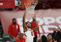 Arkansas guard Moses Moody (5) drives the ball for a layup, Saturday, January 9, 2021 during the first half of a basketball game at Bud Walton Arena in Fayetteville. Check out nwaonline.com/210110Daily/ for today's photo gallery. <br /> (NWA Democrat-Gazette/Charlie Kaijo)