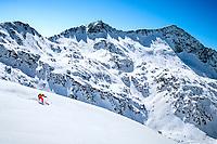 A ski tour through the Pirin Mountains of Bulgaria. Skiing to the Vihren Hut.