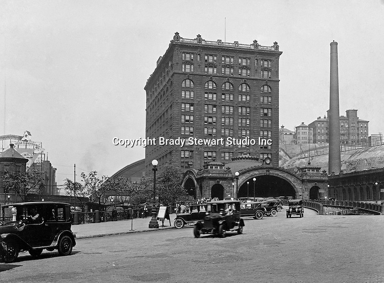 Pittsburgh PA:  The Pennsylvania Railroad Station in Pittsburgh. The Union Station was constructed between 1898 and 1903.  In 1912, the name of this train station was changed to Penn Station to match all the other stations in the state that served the passengers of the Pennsylvania Railroad.