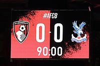 Score after 90 mins during AFC Bournemouth vs Crystal Palace, Carabao Cup Football at the Vitality Stadium on 15th September 2020