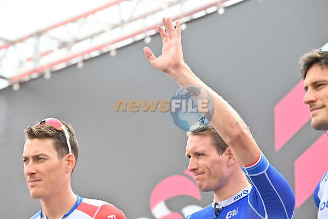 French Champion Arnaud Demare (FRA) Groupama-FDJ at sign on before the start of Stage 3 of the 103rd edition of the Giro d'Italia 2020 running 150km from Enna to Etna (Linguaglossa-Piano Provenzana), Sicily, Italy. 5th October 2020.  <br /> Picture: LaPresse/Massimo Paolone | Cyclefile<br /> <br /> All photos usage must carry mandatory copyright credit (© Cyclefile | LaPresse/Massimo Paolone)