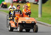 Jun. 19, 2011; Bristol, TN, USA: NHRA top fuel dragster driver Spencer Massey during eliminations at the Thunder Valley Nationals at Bristol Dragway. Mandatory Credit: Mark J. Rebilas-