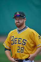 Jake Buchanan (28) of the Salt Lake Bees before the game against the Tacoma Rainiers at Smith's Ballpark on May 16, 2021 in Salt Lake City, Utah. The Bees defeated the Rainiers 8-7. (Stephen Smith/Four Seam Images)