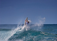 Spectacular surfing maneuver atRip Curl Pro Pipe Masters 2006,Banzai PipelineonNorth Shore of Oahu.