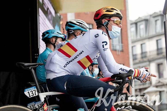 spanish champion Luis León Sánchez (ESP/Astana - Premier Tech) at the race start<br /> <br /> 107th Liège-Bastogne-Liège 2021 (1.UWT)<br /> 1 day race from Liège to Liège (259km)<br /> <br /> ©kramon