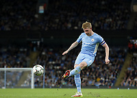 21st September 2021; Etihad Stadium,Manchester, England; EFL Cup Football Manchester City versus Wycombe Wanderers; Kevin De Bruyne of Manchester City crosses the ball into the penalty area