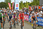 Riders cross the finish line at the end of Stage 2 of the Route d'Occitanie 2020, running 174.5km from Carcassone to Cap Découverte, France. 2nd August 2020. <br /> Picture: Colin Flockton | Cyclefile<br /> <br /> All photos usage must carry mandatory copyright credit (© Cyclefile | Colin Flockton)
