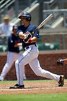 Shortstop Jake Overbey #22 of the Ole Miss Rebels swings during the NCAA Regional baseball game against the Texas Christian University Horned Frogs on June 1, 2012 at Blue Bell Park in College Station, Texas. Ole Miss defeated TCU 6-2. (Andrew Woolley/Four Seam Images).