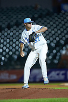 North Carolina Tar Heels relief pitcher Bo Weiss (37) in action against the Miami Hurricanes in the second semifinal of the 2017 ACC Baseball Championship at Louisville Slugger Field on May 27, 2017 in Louisville, Kentucky. The Tar Heels defeated the Hurricanes 12-4. (Brian Westerholt/Four Seam Images)