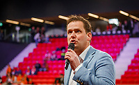 The Hague, The Netherlands, Februari 7, 2020,    Sportcampus, FedCup  Netherlands -  Balarus, speaker Alex Nelissen<br /> Photo: Tennisimages/Henk Koster