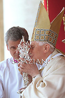 with the relic containing blood of late Pope John Paul II Pope Benedict XVI leads the beatification ceremony of Pope John Paul II in St. Peter's square in the Vatican.May 1, 2011, ,SPAZIANI PHOTO/ OSSERVATORE ROMANO