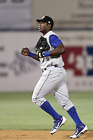 Yasiel Puig #8 of the Rancho Cucamonga Quakes during a game against the Lancaster JetHawks at Clear Channel Stadium on August 22, 2012 in Lancaster, California. Rancho Cucamonga defeated Lancaster 8-7. (Larry Goren/Four Seam Images)