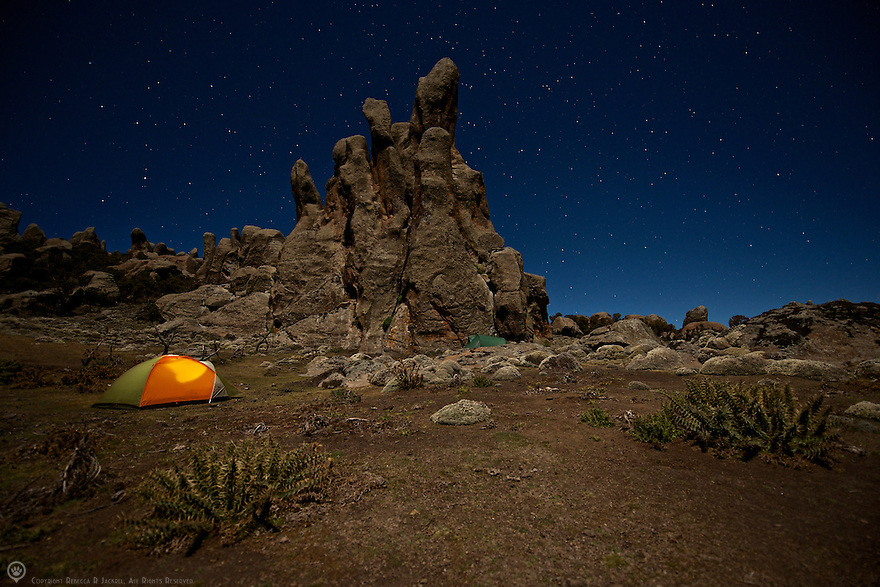 My home away from home for the 5 weeks I spent photographing wolves in the Bale Mountains National Park, Ethiopia. tent pitched at a camp site in the Rafu Lava Flow