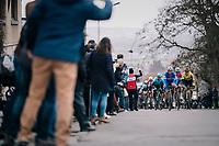 Bob JUNGELS (LUX/Deceuninck-Quick Step) escorted by teammate Florian SÉNÉCHAL (FRA/Deceuninck-Quick Step) up the Kluisberg<br /> <br /> 71th Kuurne-Brussel-Kuurne 2019 <br /> Kuurne to Kuurne (BEL): 201km<br /> <br /> ©kramon