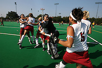 6 November 2007: Stanford Cardinal Rachel Bush (21), Rachel Mozenter (7), Lisa Maffucci (15), Katherine Swank (16), Alessandra Moss (42), and Nora Soza (5) during Stanford's 1-0 win against the Lock Haven Lady Eagles in an NCAA play-in game to advance to the NCAA tournament at the Varsity Field Hockey Turf in Stanford, CA.