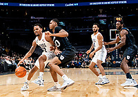 WASHINGTON, DC - JANUARY 28: Malcolm Wilson #32 of Georgetown pushes into Henry Baddley #20 of Butler during a game between Butler and Georgetown at Capital One Arena on January 28, 2020 in Washington, DC.