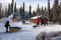 Musher Tamara Rose checks in at the Rohn checkpoint during the 2010 Iditarod