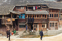 Asia,Cina,Guizhou,Zhaoxing ,Dong ethnic minority group, traditional hause in the village ,China minority