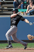 Jordon Hadlock #12 of the Cal Poly Mustangs bats against the Loyola Marymount Lions at Page Stadium on February 25, 2012 in Los Angeles,California. Cal Poly defeated LMU 12-5.(Larry Goren/Four Seam Images)
