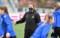 Assistant Coach Valerie Van Slycke (Brugge) pictured during a female soccer game between Club Brugge Dames YLA and Oud Heverlee Leuven on the 8 th matchday of the 2020 - 2021 season of Belgian Scooore Womens Super League , saturday 21 th November 2020  in Knokke , Belgium . PHOTO SPORTPIX.BE | SPP | DAVID CATRY
