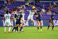 ORLANDO, FL - FEBRUARY 24: Vanesa Santana #5 of Argentina heads the ball with Lindsey Horan #9 of the USWNT during a game between Argentina and USWNT at Exploria Stadium on February 24, 2021 in Orlando, Florida.