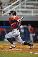 Austin Diemer (5) of the Elizabethton Twins follows through on his swing against the Kingsport Mets at Hunter Wright Stadium on July 8, 2015 in Kingsport, Tennessee.  The Mets defeated the Twins 8-2. (Brian Westerholt/Four Seam Images)
