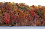 Autumn leaves with fisherman Burke Lake Fairfax Commonwealth of Virginia,