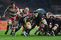 Danny Care of Harlequins is caught by Willi Heinz of Gloucester Rugby at the base of the scrum during the Aviva Premiership Rugby match between Harlequins and Gloucester Rugby at Twickenham Stadium on Tuesday 27th December 2016 (Photo by Rob Munro/Stewart Communications)