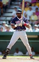 Boston Red Sox Mo Vaughn (42) during Spring Training 1993 at McKechnie Field in Bradenton, Florida.  (MJA/Four Seam Images)