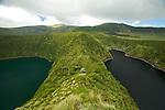 Green lake of Funda and  black  lake of Comprida. Flores island.Flores Island..
