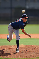 Atlanta Braves pitcher Evertz Orozco (93) during an instructional league game against the Houston Astros on October 1, 2015 at the Osceola County Complex in Kissimmee, Florida.  (Mike Janes/Four Seam Images)