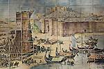 Fliesenbild auf das befestigte Lissabon mit dem Castelo do Sao Jorge, Portugal