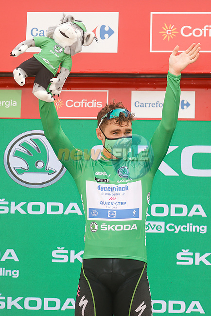 Fabio Jakobsen (NED) Deceuninck Quick-Step retains the points Green Jersey at the end of Stage 10 of La Vuelta d'Espana 2021, running 189km from Roquetas de Mar to Rincón de la Victoria, Spain. 24th August 2021.     <br /> Picture: Luis Angel Gomez/Photogomezsport | Cyclefile<br /> <br /> All photos usage must carry mandatory copyright credit (© Cyclefile | Luis Angel Gomez/Photogomezsport)