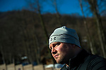 RZHANAYA POLYANA, RUSSIA  - JANUARY 6:<br /> Bobsled athlete Steven Holcomb talks to members of the media after a practice run at the Sanki Sliding Center before the start of the 2014 Sochi Olympics Thursday February 6, 2014.<br /> (Photo by Chris Detrick/The Salt Lake Tribune)