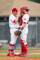Johnson City Cardinals catcher Charlie Neil (32) has a chat on the mound with starting pitcher Landon Beck (23) during the game against the Elizabethton Twins at Cardinal Park on July 27, 2014 in Johnson City, Tennessee.  The game was suspended in the top of the 5th inning with the Twins leading the Cardinals 7-6.  (Brian Westerholt/Four Seam Images)