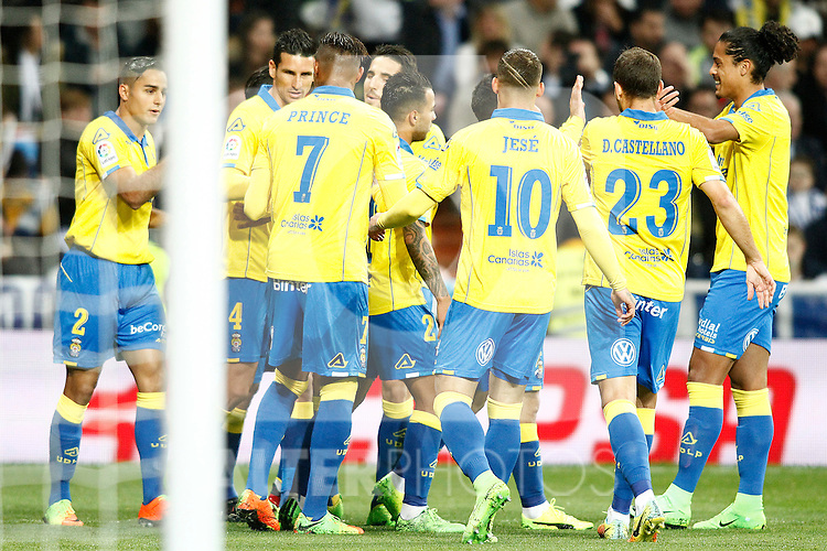 UD Las Palmas' players celebrate goal during La Liga match. March 1,2017. (ALTERPHOTOS/Acero)
